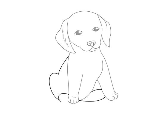 На мордочке собачки нарисуем две симметричные линии