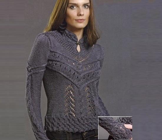 Оригинальный пуловер с воротником