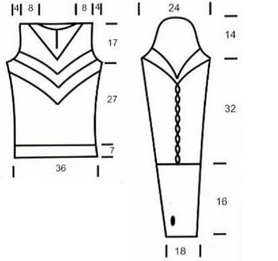 Оригинальный пуловер с воротником схема