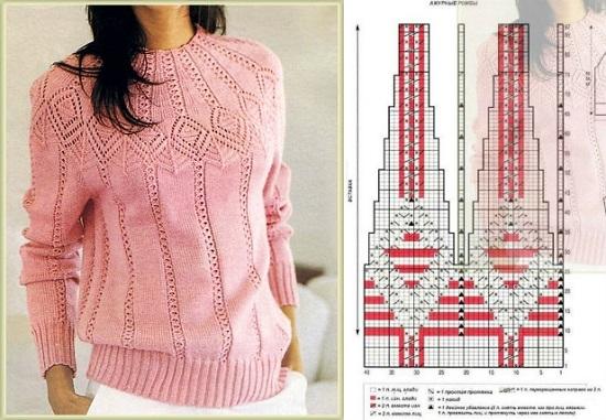 пуловер с красивой отделкой горловины и ажурными вставками