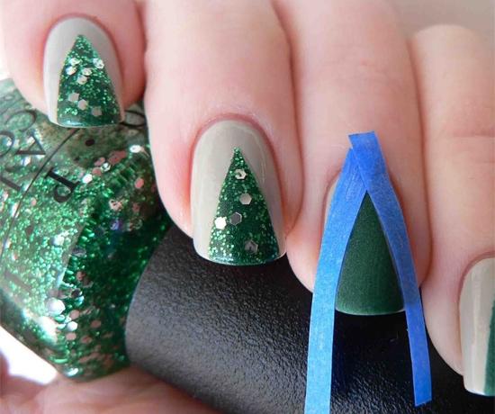 Новогодний маникюр на коротких ногтях своими руками фото