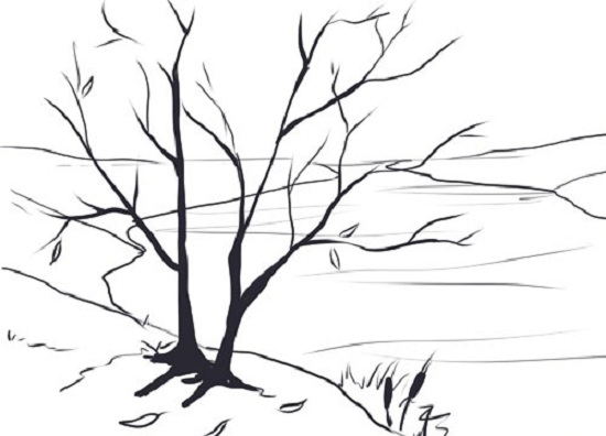 Как нарисовать пейзаж с деревом карандашом поэтапно для начинающих?