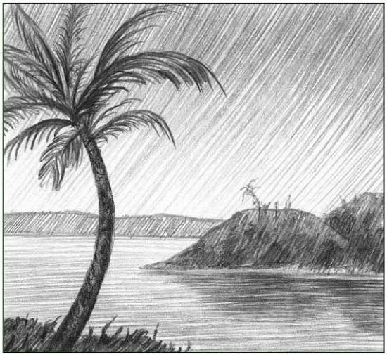 Как нарисовать пейзаж с пальмой карандашом поэтапно для детей?