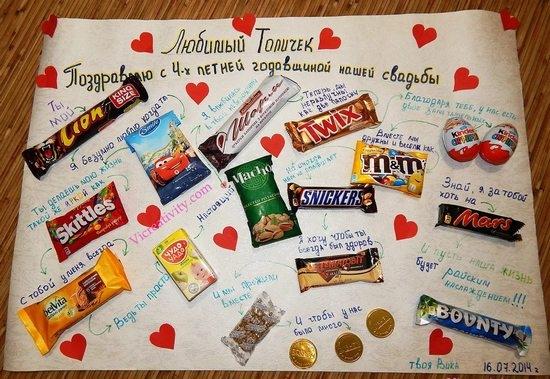 плакат сладкий на годовщину