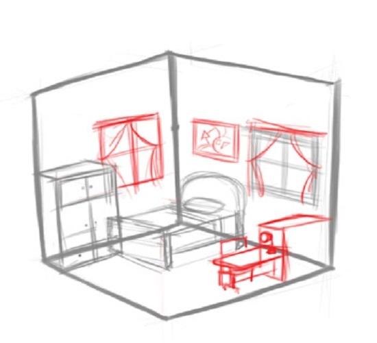 Как нарисовать комнату с мебелью карандашом поэтапно?