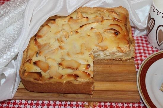 яблочный пирог цветаевский рецепт со сметанной заливкой
