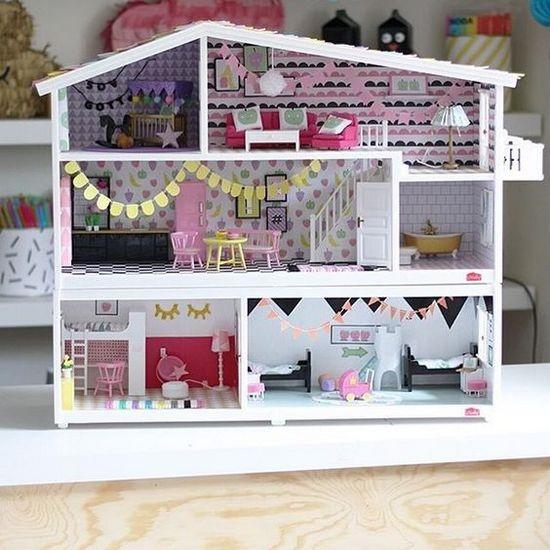Кукольный домик трехэтажный своими руками из фанеры