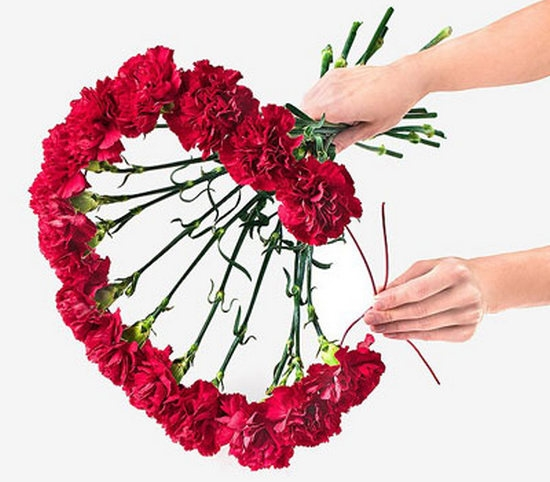 Букет цветов цветов в виде сердца мастер класс