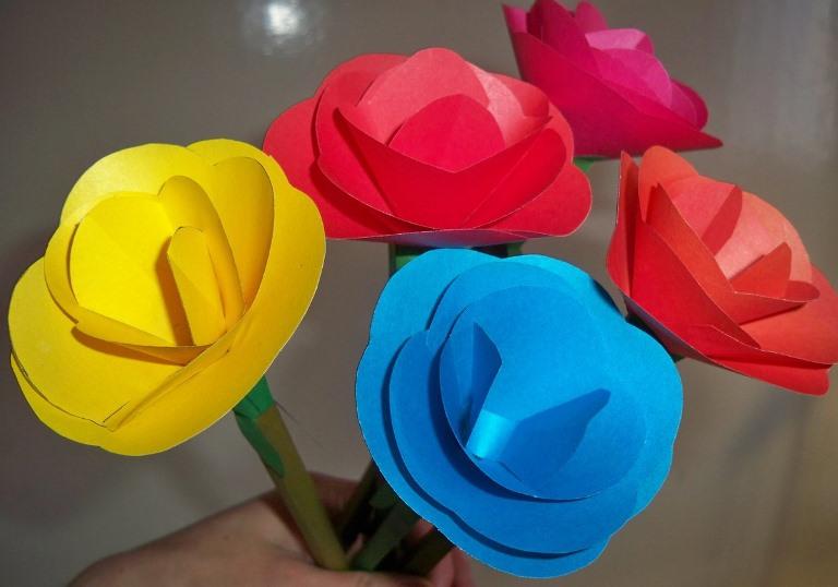 Дети поделки цветы 130
