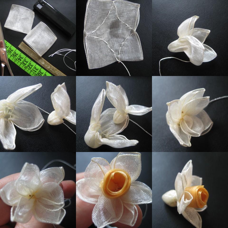 Цветы из ткани своими руками с фото