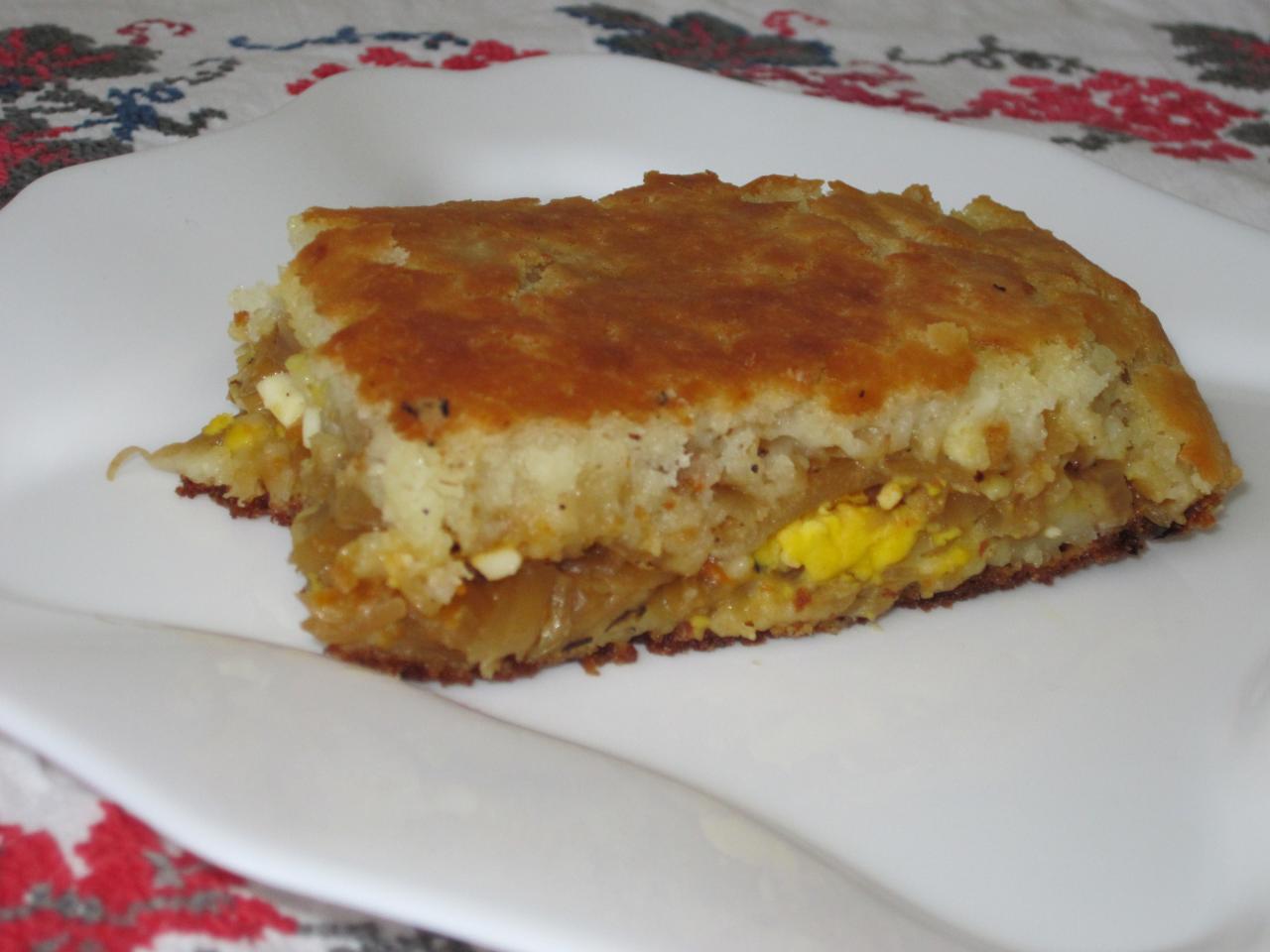 Быстрый пирог на кефире с капустой