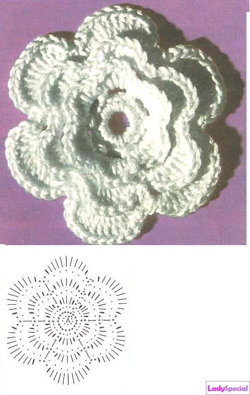 Объемный цветок крючком для