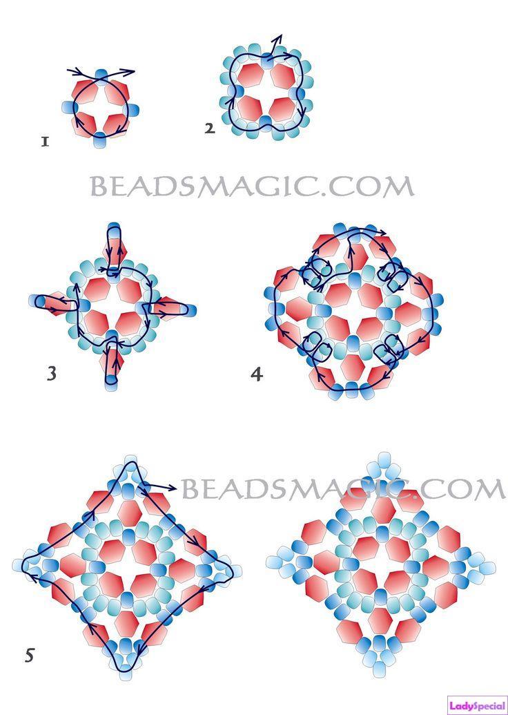 Серьги из бисера: схемы плетения.